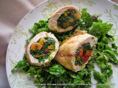 PECHUGA DE POLLO RELLENA (cocina bajas calorías )